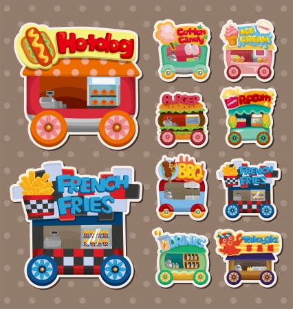 Cartoon market store car stickers Vector