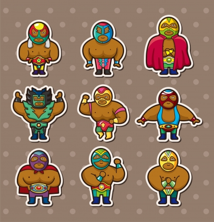 stickers: cartoon wrestler stickers