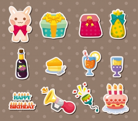 birthday element stickers Vector