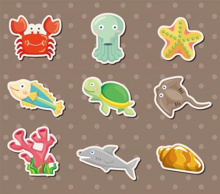 fondali marini: fumetto Acquario animali adesivi