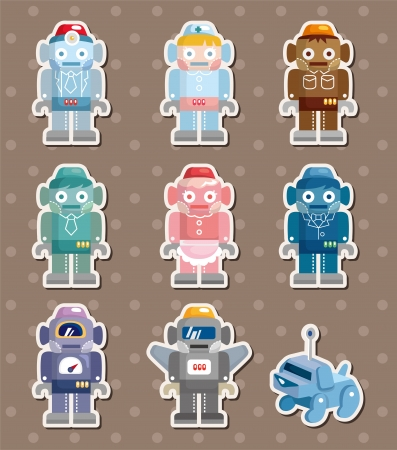 robot stickers Stock Vector - 14958122