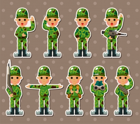 soldier stickers Vector