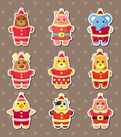 xmas animal stickers Vector