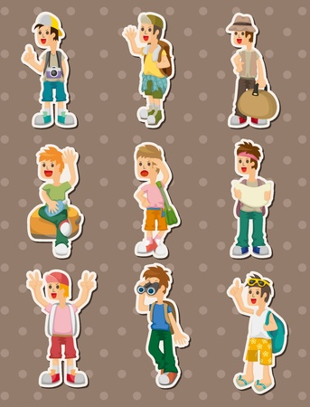 travel people stickers Stock Vector - 15015837