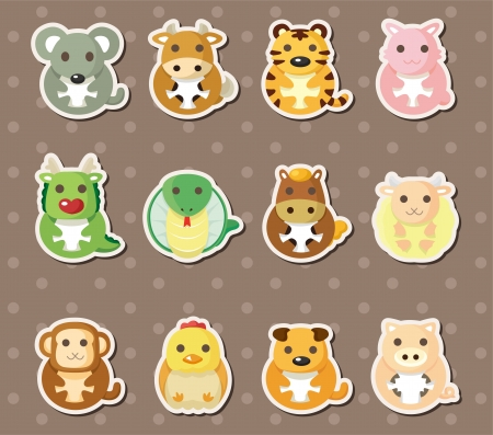 year of snake: 12 Chinese Zodiac animal stickers