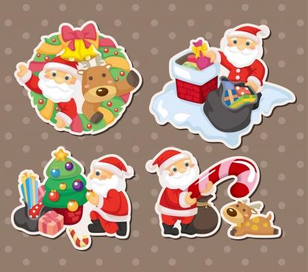 cartoon santa claus Christmas stickers Stock Vector - 15015822