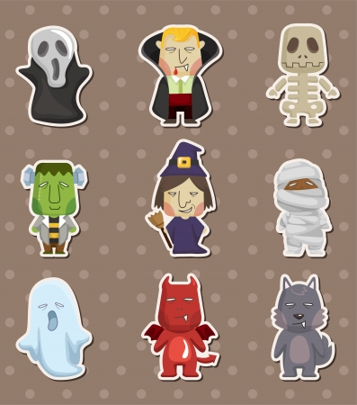 Cartoon Halloween monster  stickers Vector