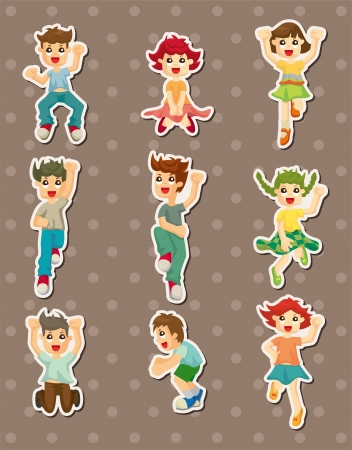cartoon child jump stickers Vector