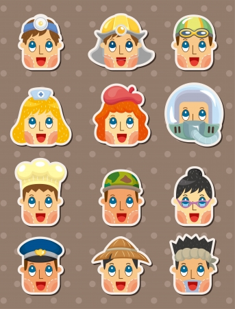 military girl: people face stickers Illustration