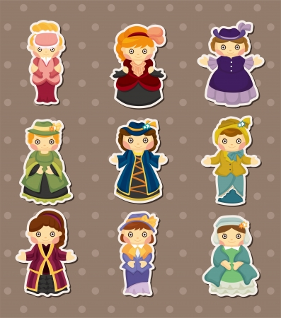 cartoon Medieval beautiful girls stickers Vector