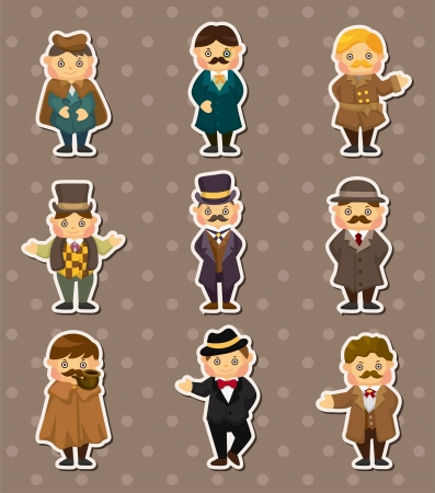 cartoon retro gentleman stickers Vector