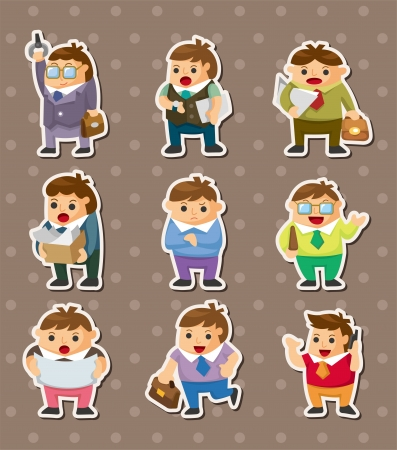 cartoon office workers stickers Vector