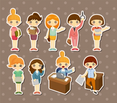 young office workers: cartoon pretty office woman worker stickers Illustration