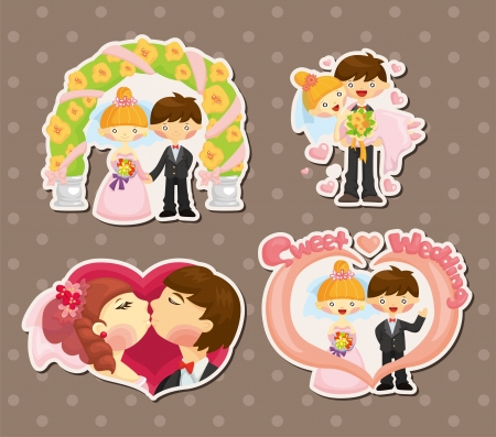 cartoon wedding set  Vector