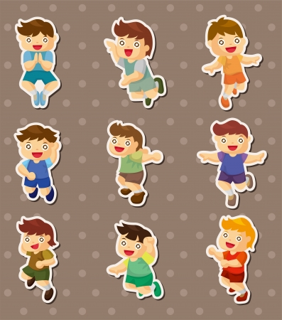 kid jump stickers Vector
