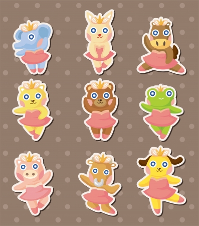 cartoon animal ballerina dancer stickers Vector