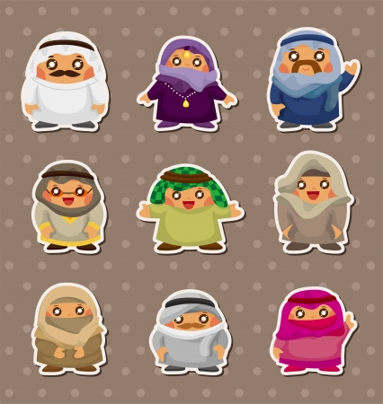national costume: cartoon Arabian people stickers  Illustration