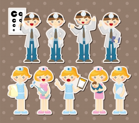 hospital germ: cartoon doctor and nurse stickers