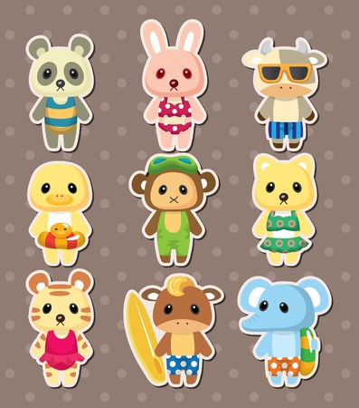 cartoon summer animal stickers Vector