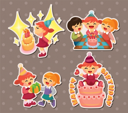 birthday stickers Vector
