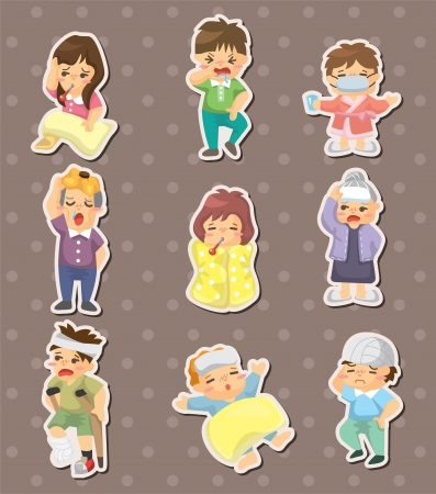 Sick Character stickers Vector