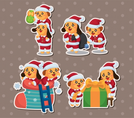 cute cartoon Christmas Holiday,animal santa, stickers Vector