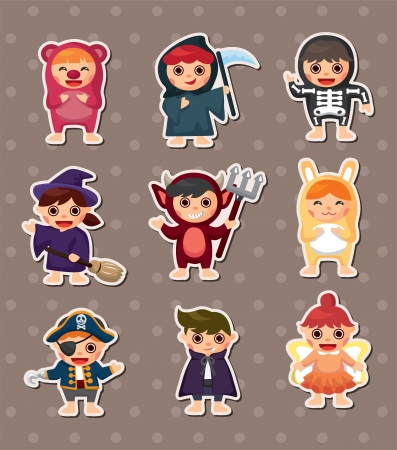 dressing up costume: halloween costume party Illustration