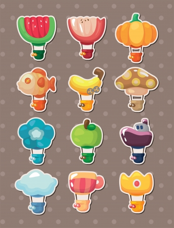 aerostat: cartoon hot air balloon stickers  Illustration