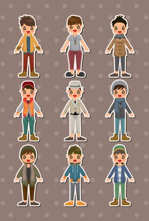 young man jeans: cartoon charming young man stickers