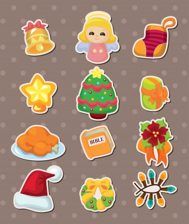 cute cartoon Christmas element stickers Stock Vector - 15178881
