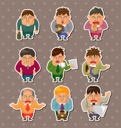 Tired businessman stickers Vector