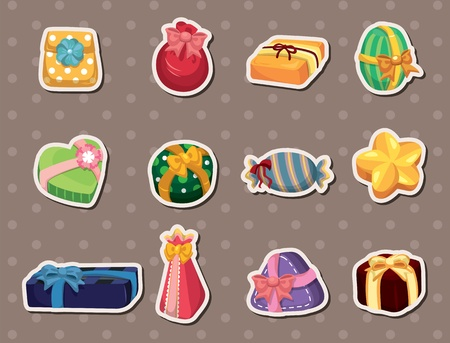 cartoon gifts stickers Vector