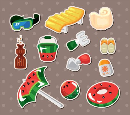 solarium: Vector illustration of beach accessories stickers Illustration