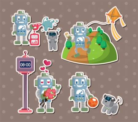 robot stickers Stock Vector - 15178860