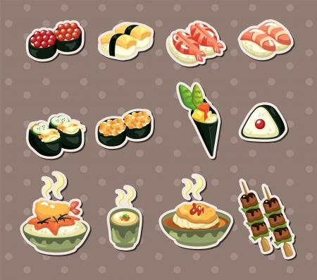 pez globo: Pegatinas comida japonesa Vectores