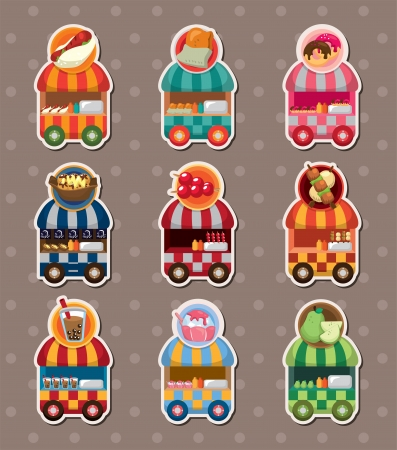 set of party shop market cart stickers Vector