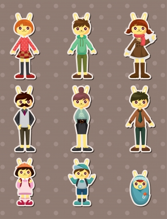 rabbit family stickers Vector
