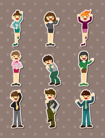 happy office worker stickers  Vector