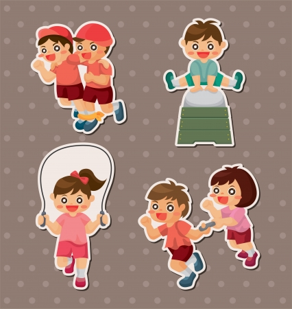student sport game stickers Vector