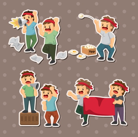 set of people protest stickers Vector
