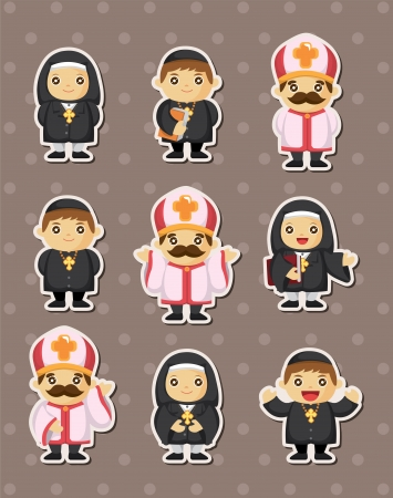 cartoon priest stickers  Vector