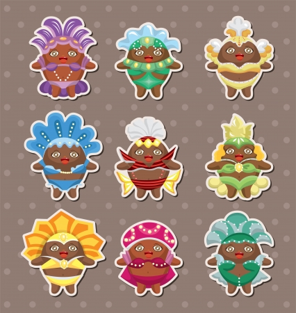 set of carnival costume people stickers Vector