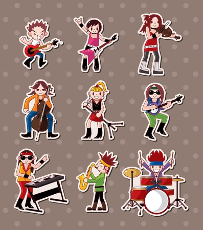 rock music band stickers  Vector