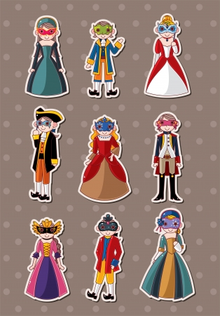medieval dress: cartoon mask party stickers
