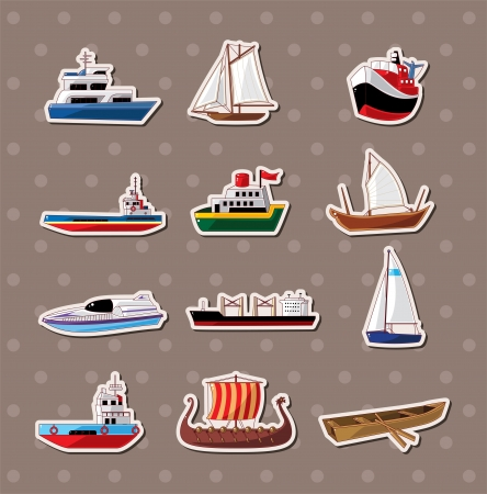 marine ship: boat stickers  Illustration