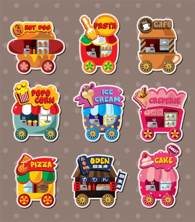 vendors: Cartoon market store stickers Illustration