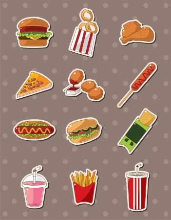 fast food stickers  Vector