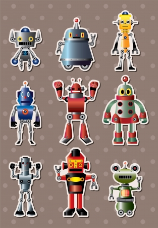 electronics parts: cartoon robot sticers  Illustration