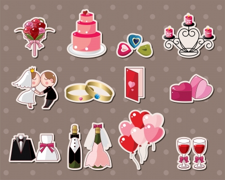 wedding stickers Vector