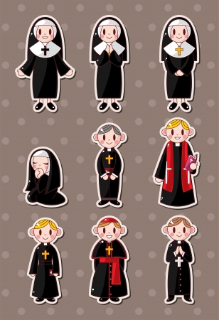 church group: cartoon priest stickers